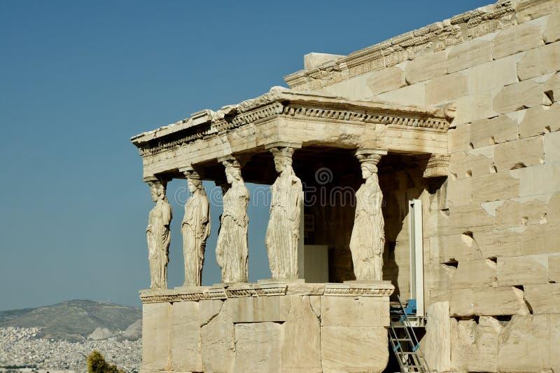 De Carietids kolonnerna, akropol, Aten arkivfoto