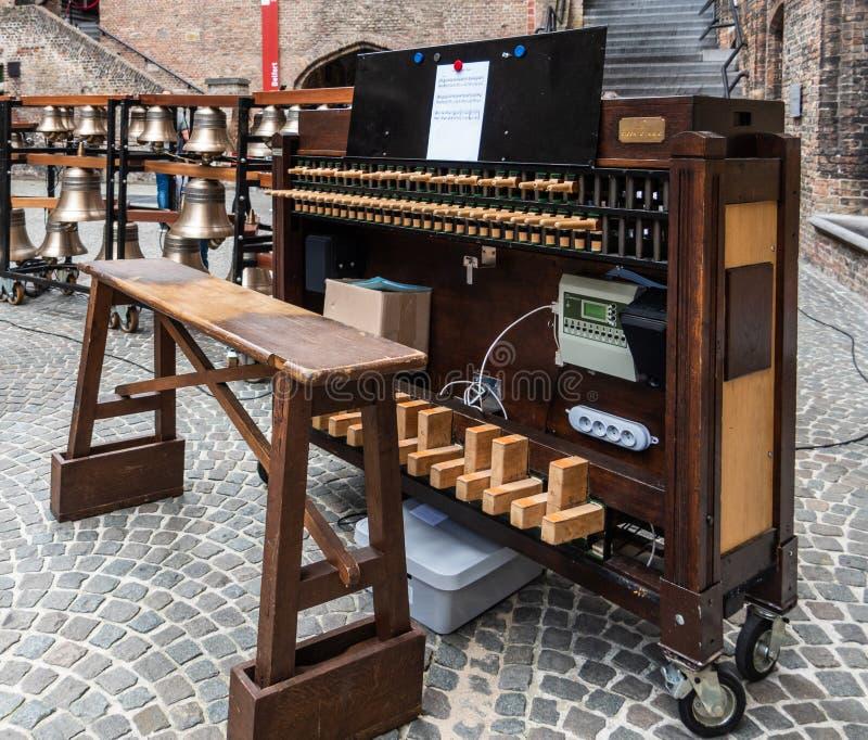 De carillon in Brugge, Vlaanderen, België royalty-vrije stock foto's