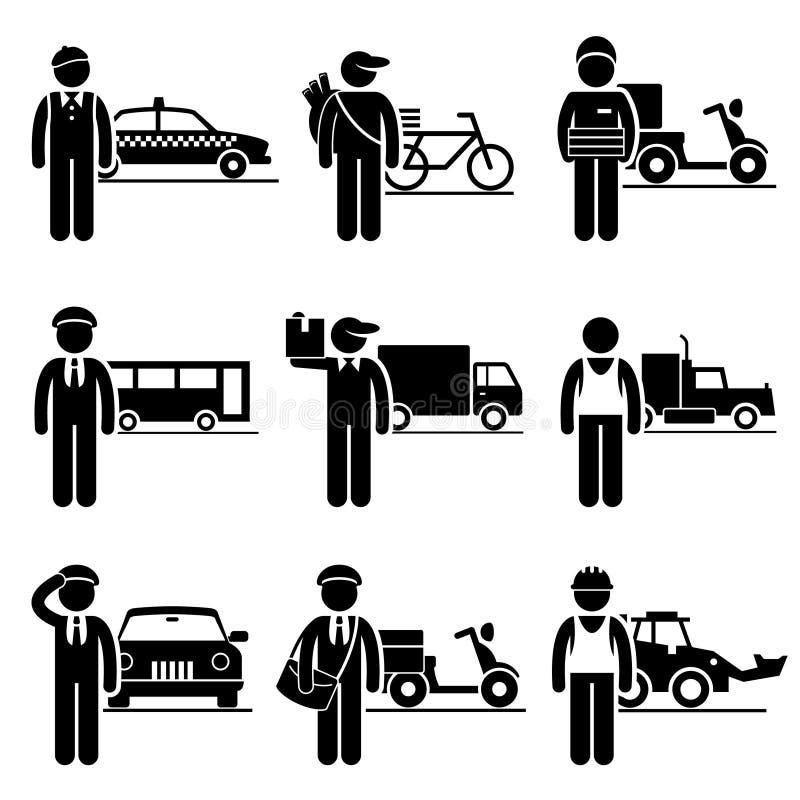 De Carrières van bestuurdersdelivery jobs occupations vector illustratie