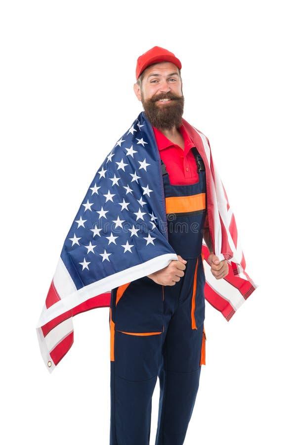 De carri?regroei De Amerikaanse vlag van de mensengreep Reparatie en Vernieuwing Eenvormige kerelarbeider Bouwers regelmatige arb stock afbeeldingen