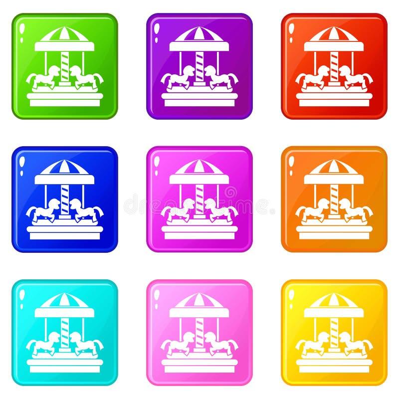 De carrousel met paarden plaatste 9 vector illustratie