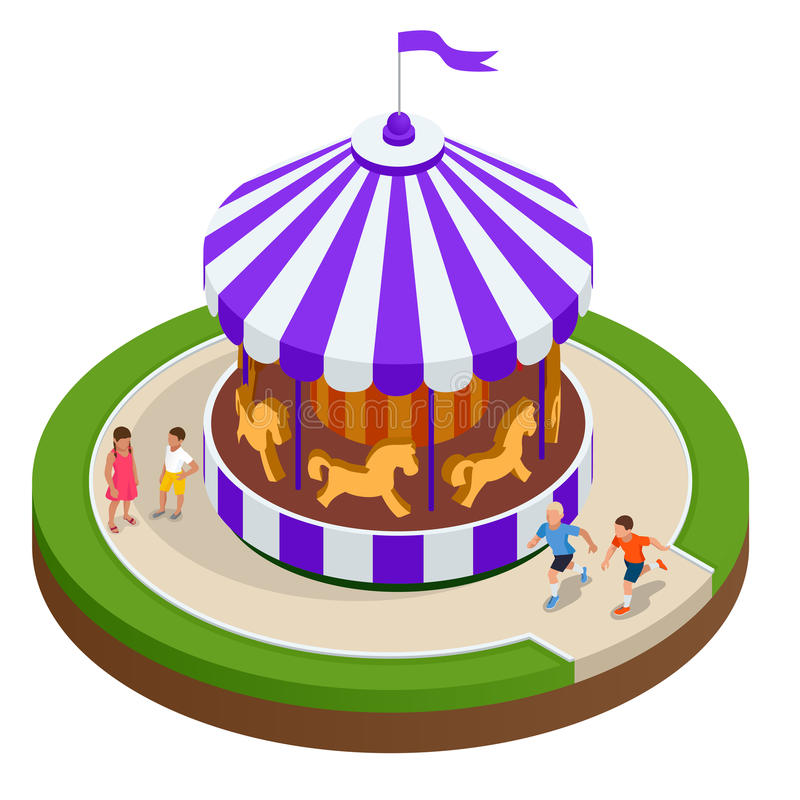 De carrousel van isometrische Kinderen met paarden Vector illustratie Kleurrijke kinderens carrousel royalty-vrije illustratie