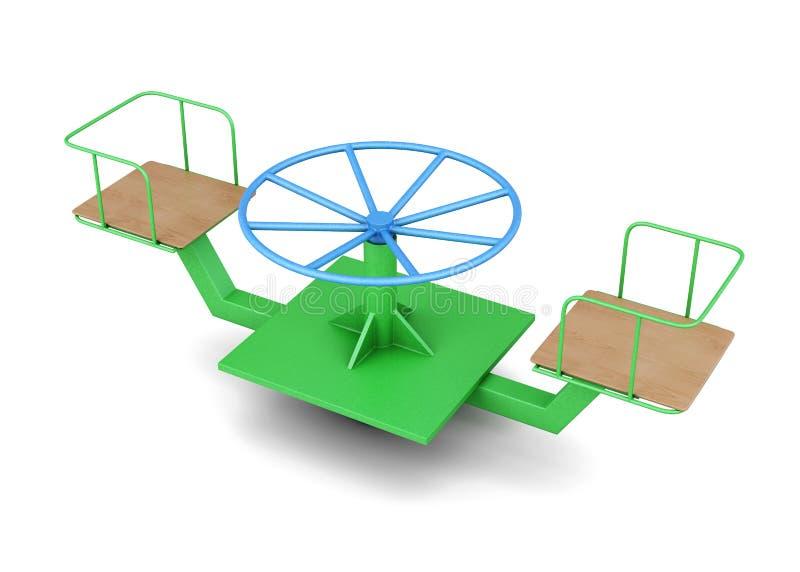 De carrousel van kinderen op witte achtergrond het 3d teruggeven royalty-vrije illustratie