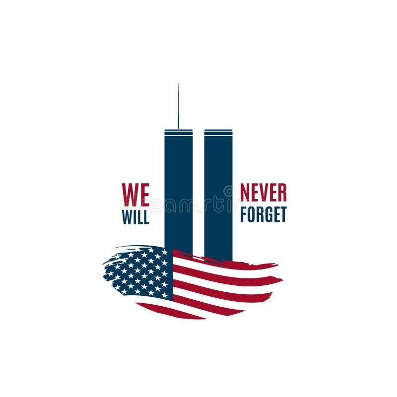 9/11 de cartão do dia do patriota com as torres gêmeas na bandeira americana e na frase que nós nunca esqueceremos ilustração stock