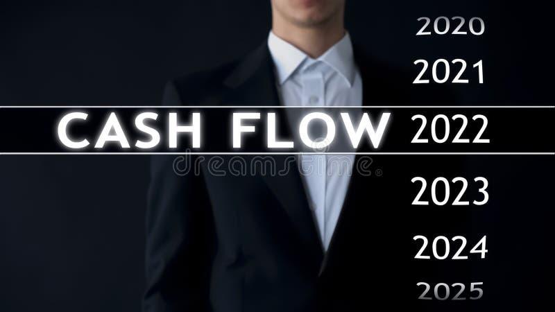 De cash flow voor 2022, zakenman selecteert financieel verslag op het virtuele scherm royalty-vrije stock foto