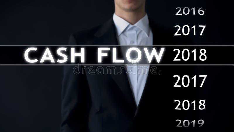 De cash flow voor 2018, zakenman selecteert financieel verslag op het virtuele scherm stock fotografie
