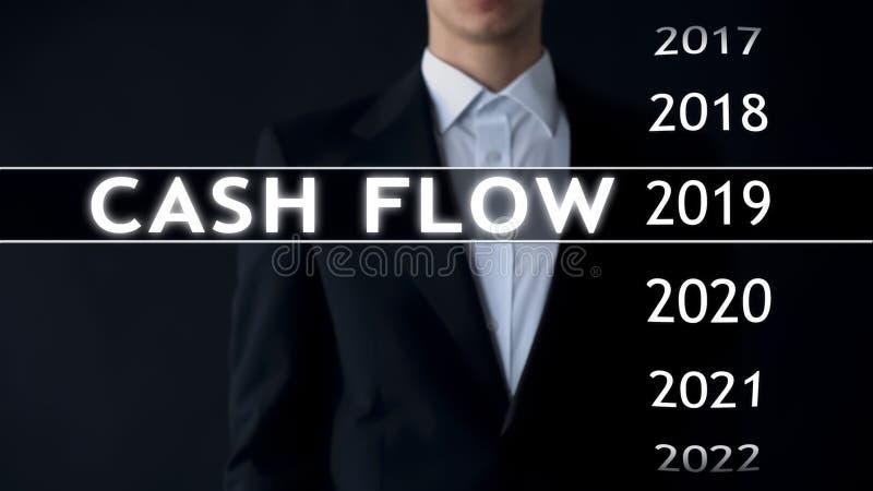 De cash flow voor 2019, zakenman selecteert financieel verslag op het virtuele scherm royalty-vrije stock foto's