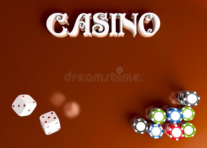 De casinoachtergrond dobbelt en spaanders De hoogste mening van wit dobbelt en spaanders op rode gouden achtergrond Het online co stock foto