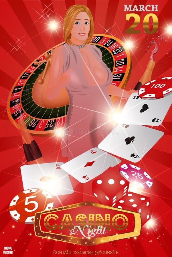 De casinoroulette met spaanders, rood dobbelt en mooi meisje royalty-vrije illustratie