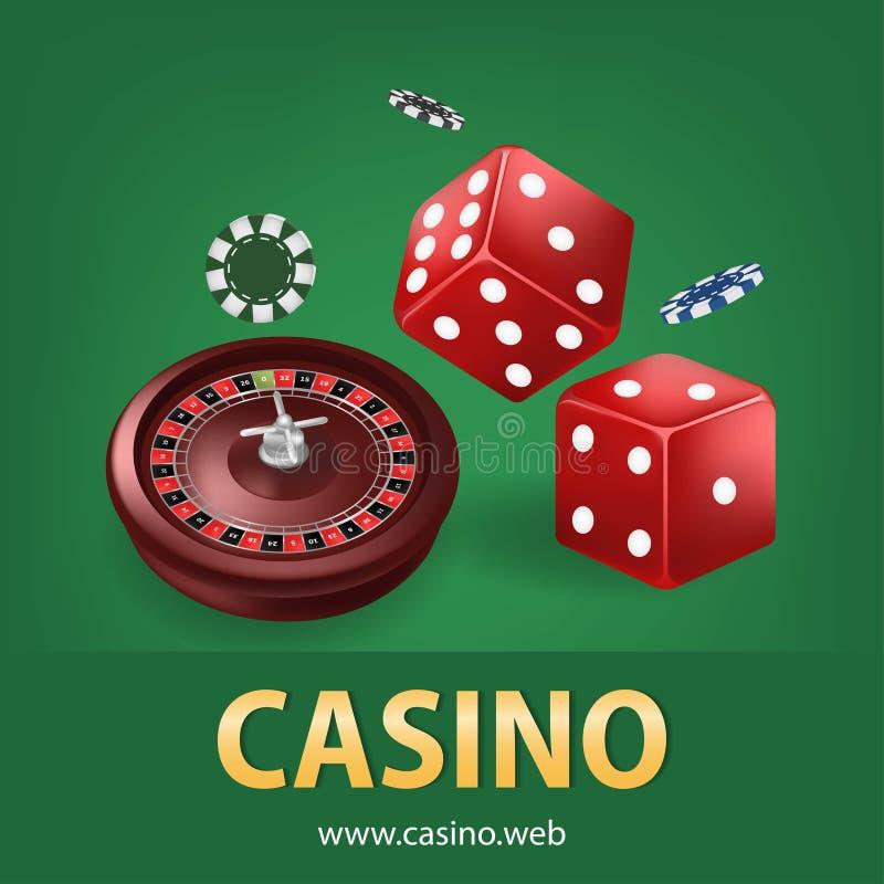 De casinoroulette met spaanders, rood dobbelt realistische het gokken affichebanner Van de het fortuinroulette van casinovegas de vector illustratie