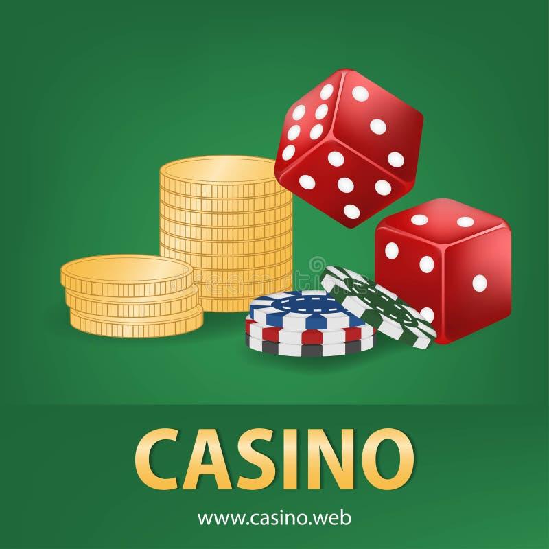 De casinospaanders, rood dobbelen, gouden geld realistische het gokken affichebanner Van de het fortuinroulette van casinovegas d royalty-vrije illustratie