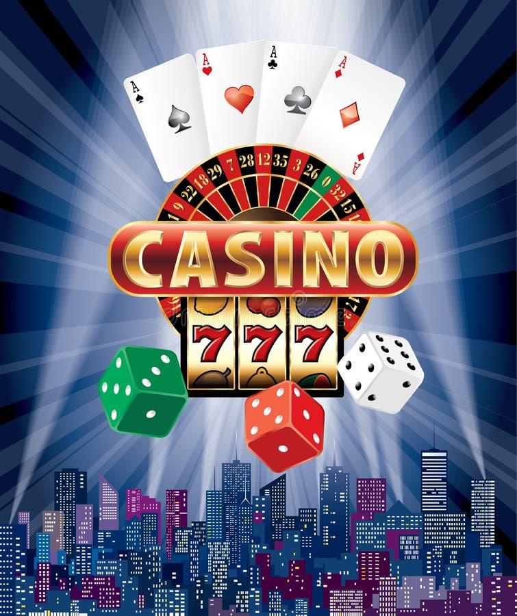 De casinostad dobbelt kaart vector illustratie