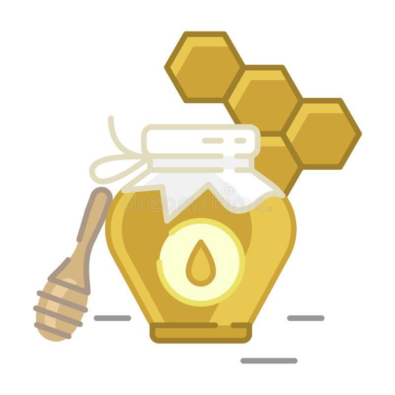 De categoriepictogram van de honingsfles - Traditioneel Russisch snoepjes en Suikergoed vector illustratie