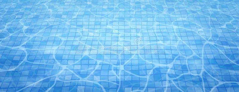 De caustisch middelenrimpeling en stroom van de zwembadbodem met golvenachtergrond De zomerachtergrond Textuur van waterspiegel royalty-vrije illustratie