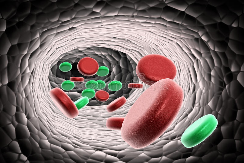 De cellen van het bloed met virus stock illustratie