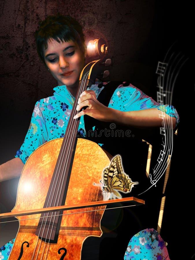 De cellist en de vlinder royalty-vrije illustratie