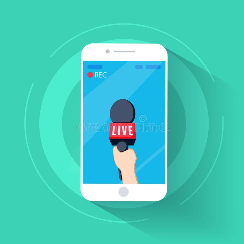 De celtelefoon van nieuwstv en levend in mobiele telefoon met camerakader rec en verslagbeeldverhaal hand en mic vector vector illustratie