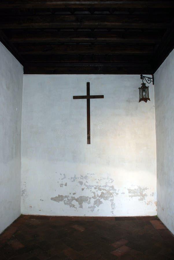 De celwhit van de monnik kruis royalty-vrije stock foto's