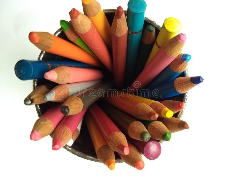 De cenital mening van kleurenpotloden stock fotografie