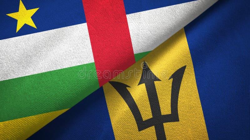 De Centraalafrikaanse Republiek en Barbados twee vlaggen textieldoek, stoffentextuur royalty-vrije stock foto
