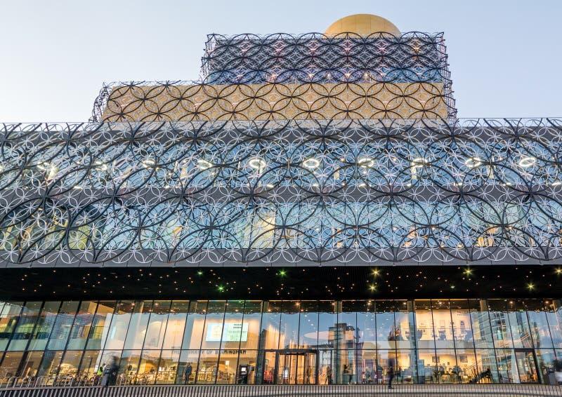 De Centrale Bibliotheek van Birmingham bij Schemer royalty-vrije stock fotografie