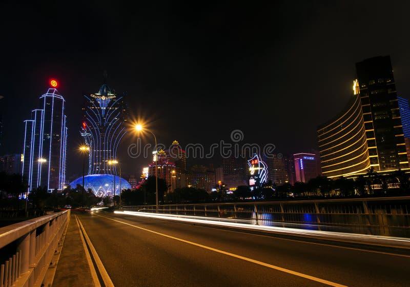 De centrale horizon van het de stadscasino van Macao in Macao China royalty-vrije stock afbeelding