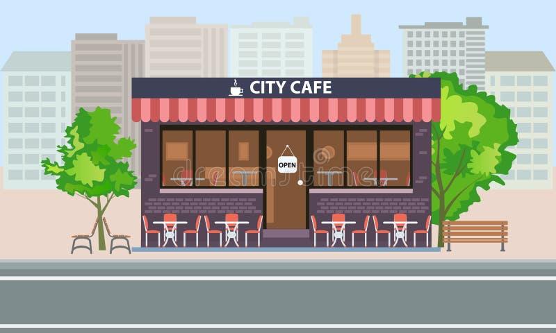 De centrale koffie bouw buiten met de zomerterras, lijsten, stoelen en bomen Vlakke het conceptenvector van het stadslandschap royalty-vrije illustratie