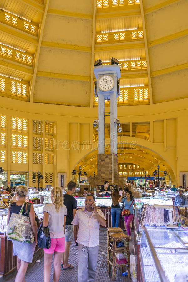 De Centrale Markt van Phsarthmei, Phnom Penh stock fotografie