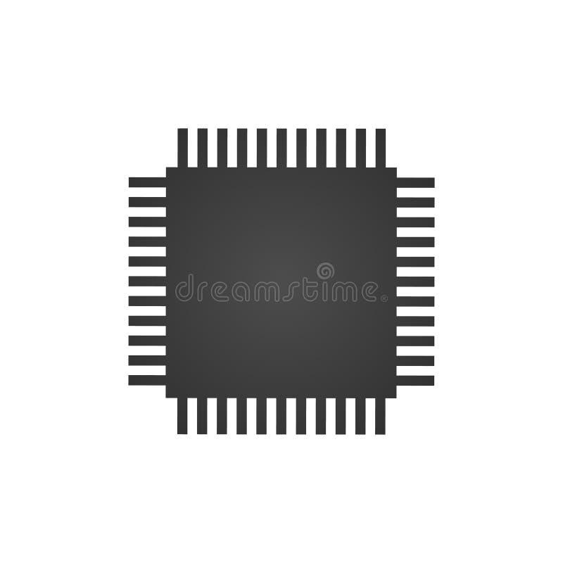 De centrale verwerkingseenheid, de Chip of de microchippictogram van cpu Vector illustratie die op witte achtergrond wordt geïsol vector illustratie