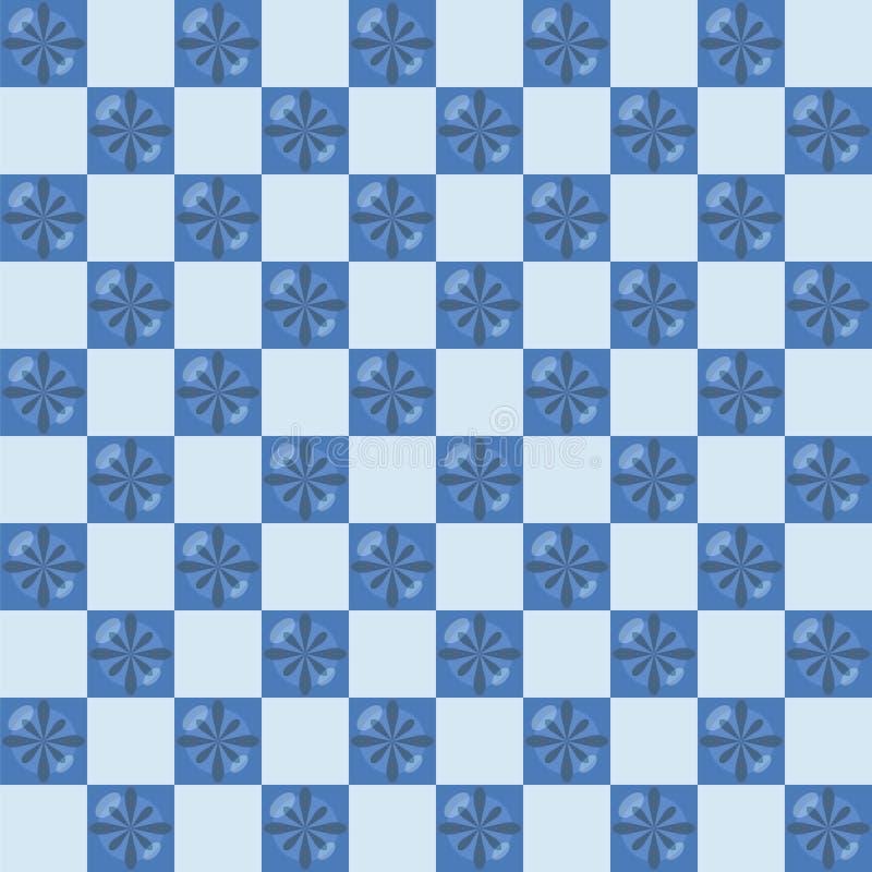 De ceramische blauwe tegels met glanzend glanzen blauwe kleine bloemen in geruit patroon vector naadloos patroon stock illustratie