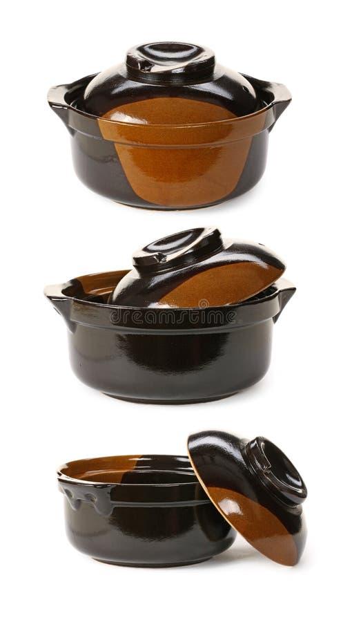 De ceramische pottenpan opende dekking royalty-vrije stock afbeelding
