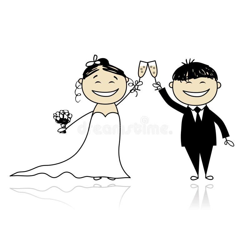 De ceremonie van het huwelijk - bruid en bruidegom samen vector illustratie