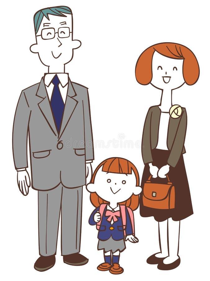 De ceremonie van de schoolingang, ouder en kindmeisje vector illustratie