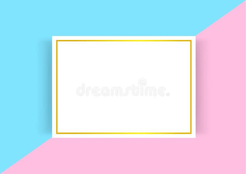 De certificaatsjabloon met gouden kader op blauwe roze pastelkleuren, lege certificaata4 kaders op vlakte legt multikleuren, a4 vector illustratie