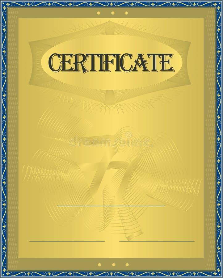 Or de certificat illustration libre de droits