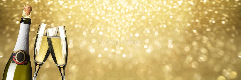 De champagne Gouden achtergrond van de nieuwjaartoost royalty-vrije stock afbeeldingen