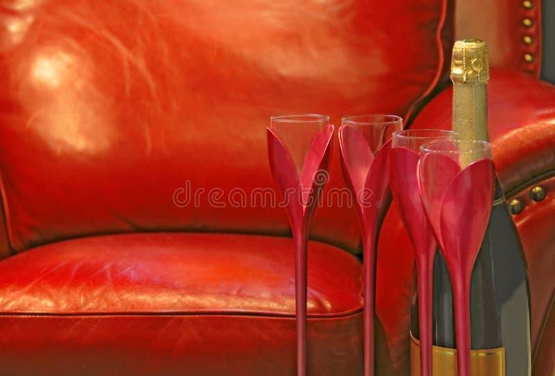 De Champagne vida ainda fotografia de stock