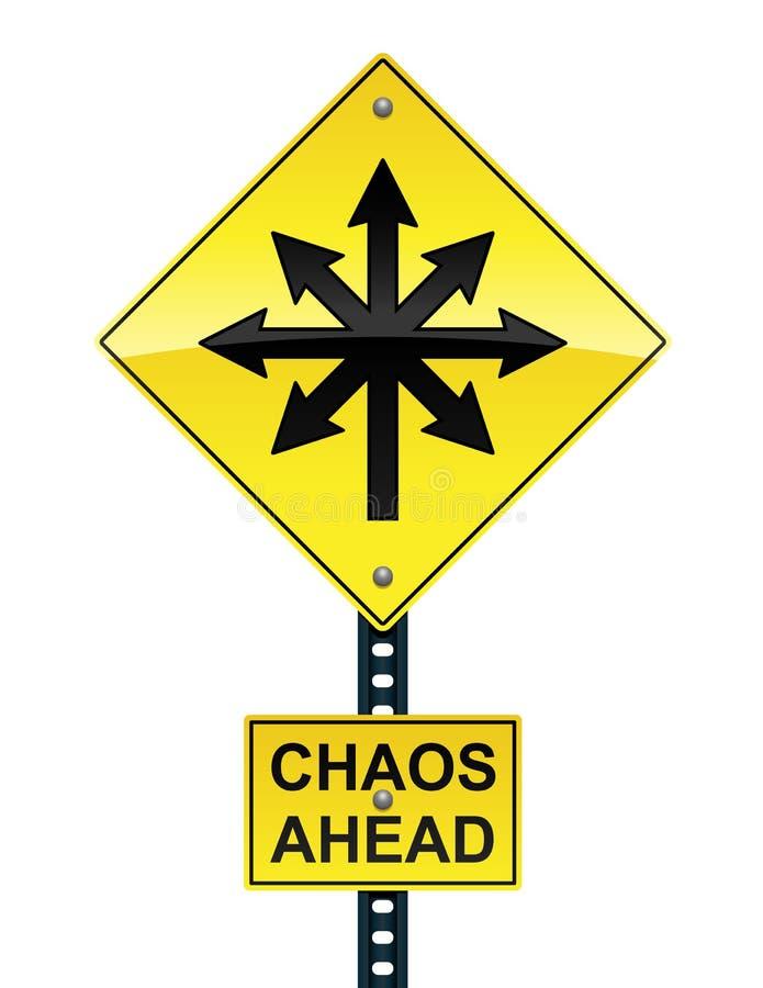 De chaos ondertekent vooruit stock illustratie