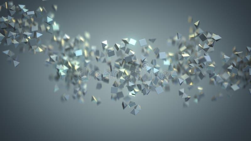 De chaotische stroom van het vliegen grijze 3D vormen geeft terug royalty-vrije illustratie