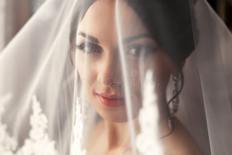 De charmante bruid is onder sluier royalty-vrije stock afbeeldingen