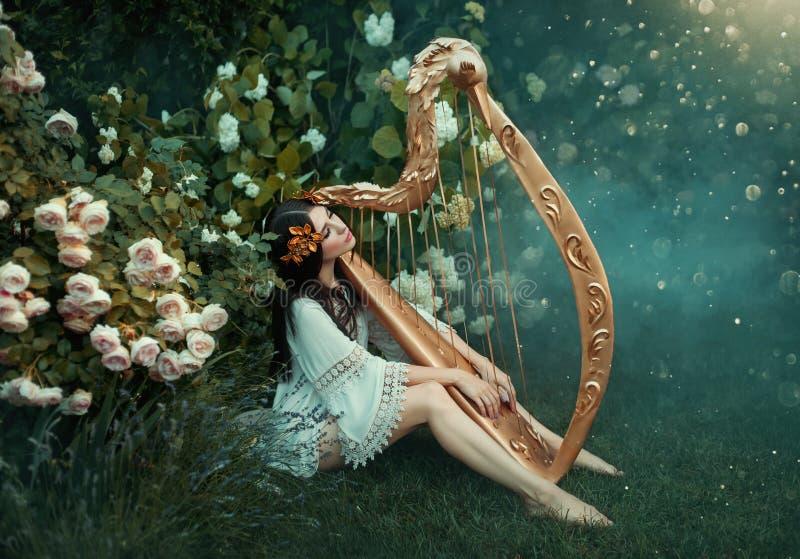 De charmante dame met donker zwart haar zit op het bevroren gras alleen met mist, royalty-vrije stock foto