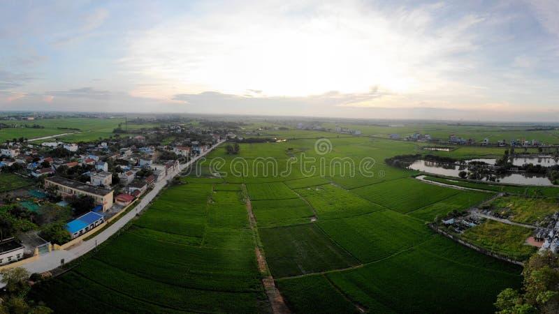 De charme van groene padievelden houdt het dorpslandschap stock afbeelding