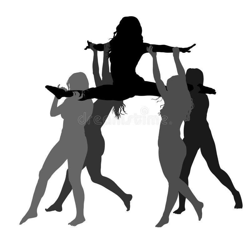 De Cheerleaderdansers stellen vector geïsoleerde silhouetillustratie voor De sportsteun van het toejuiching belangrijke meisje Mi vector illustratie