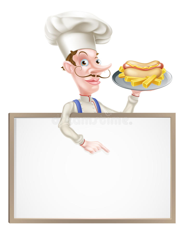 De Chef-kok Above Sign van de beeldverhaalhotdog stock illustratie