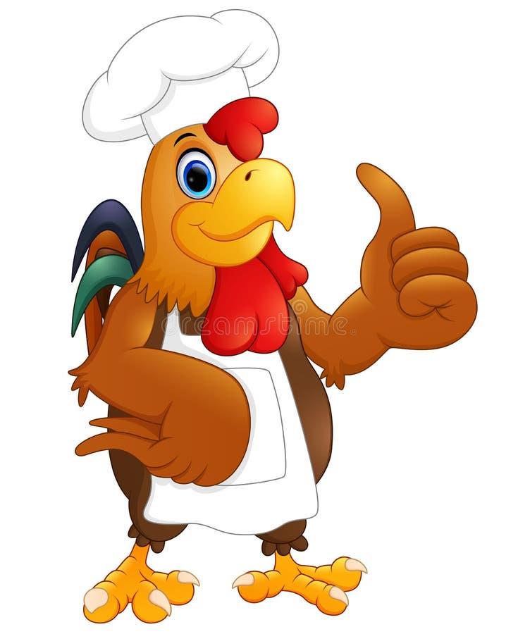 De chef-kok die van de beeldverhaalkip de duimen opgeven royalty-vrije illustratie