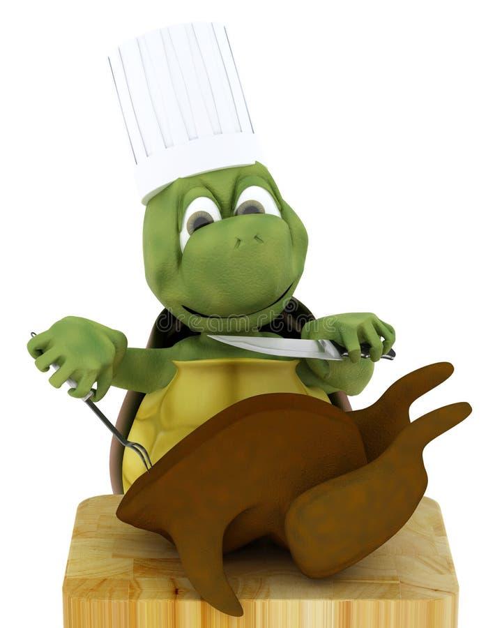 De chef-kok die van de schildpad een kip snijdt vector illustratie
