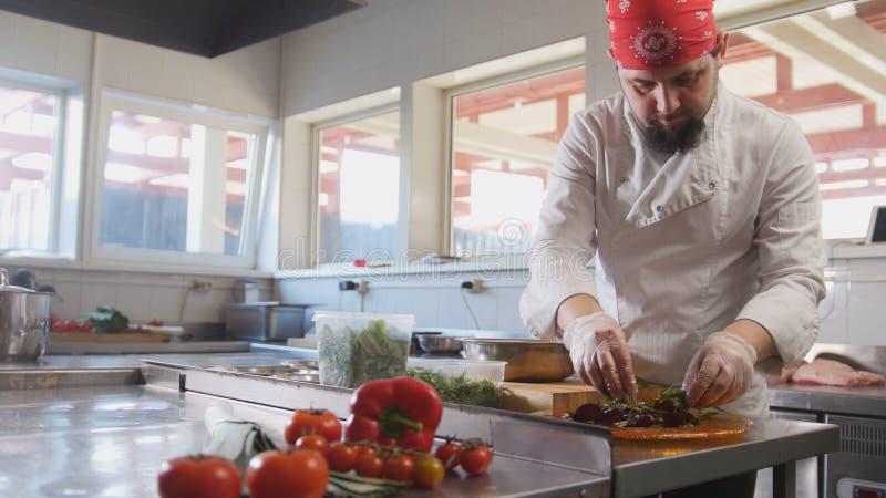De chef-kok dient de salade door de ingrediënten op een plaat te plaatsen royalty-vrije stock afbeelding