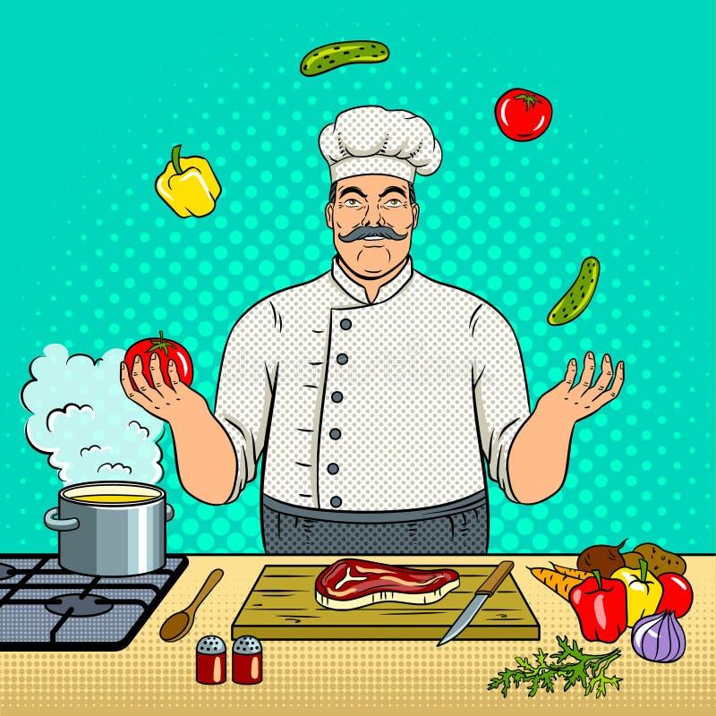 De chef-kok jongleert met met de vector van het groentenpop-art vector illustratie