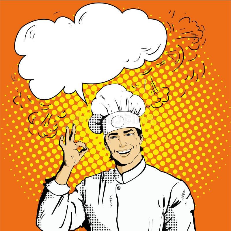De chef-kok met toespraakbel toont O.K. teken royalty-vrije illustratie
