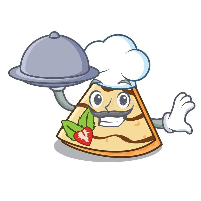 De chef-kok met voedsel omfloerst de stijl van het mascottebeeldverhaal royalty-vrije illustratie